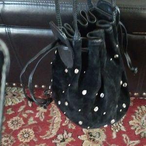 Black studded Suede purse